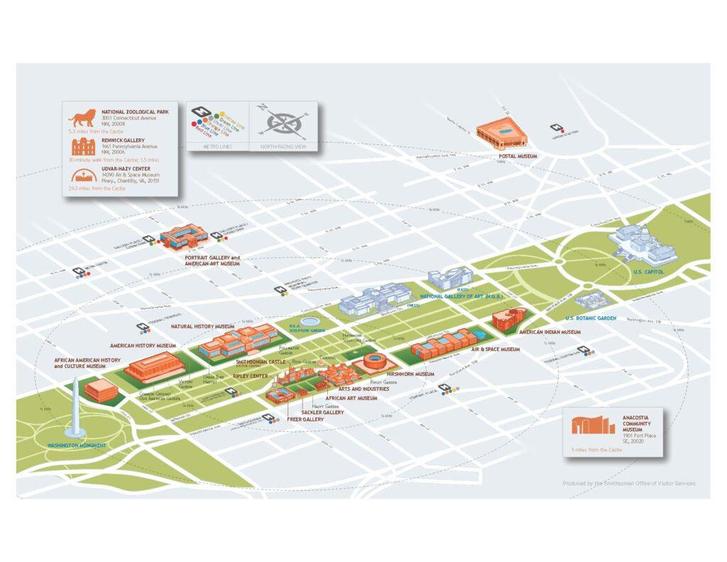 Washington, DC National Mall map, courtesy of The Smithsonian.