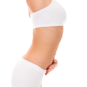 woman with hand on flat stomach after body contouring at Style and Beauty by Priscilla Dripping Springs