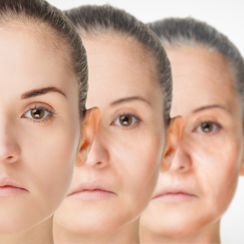 3 Aging faces of a woman