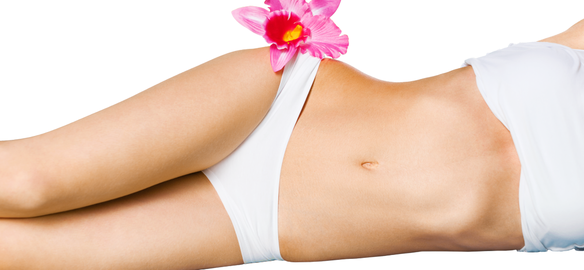 Woman laying on side showing flat stomach