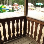 Cabin deck with view of beach