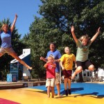 Family on jumping pillow