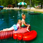 Kids on water activity at Smokey Hollow Campground