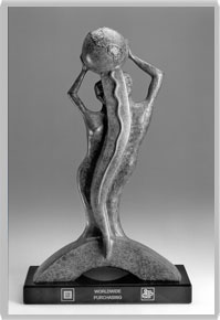 An award that goes on the page. It is a merperson with a globe on the top of the head.