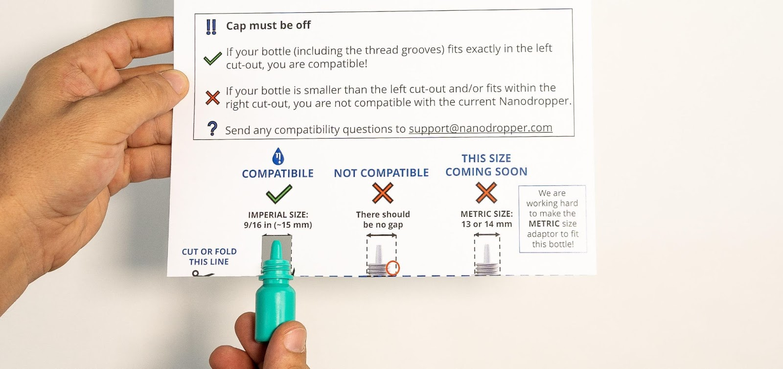 The Nanodropper comparison card that shows patients whether the Nanodropper fits their bottle