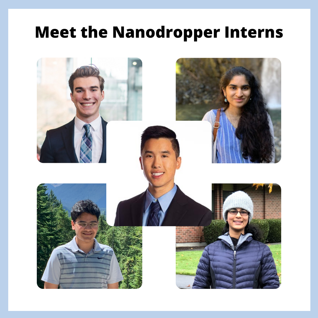 headshots of the interns of Nanodropper, along with the blog post headline