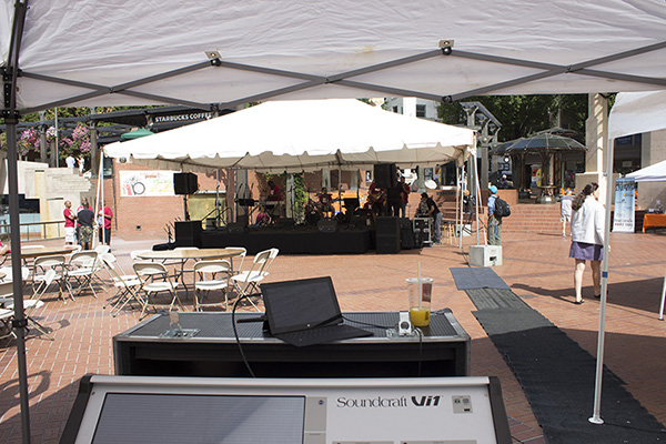 Looking at the stage from the front of house position