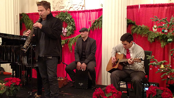 picture of Patrick Lamb and band members donating their time to play on christmas day for the homeless