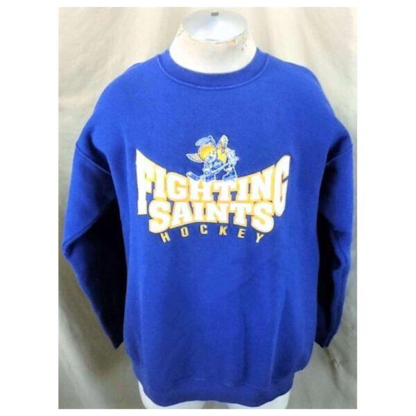 Minnesota Fighting Saints Hockey (Large) Retro Crew Neck Knit Sweatshirt (Cover)