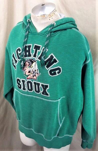 North Dakota Fighting Sioux Hockey (Large) Stitched College Hooded Sweatshirt (Side)