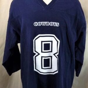Vintage 1997 Troy Aikman #8 (2XL) Retro Dallas Cowboys Heavy Jersey T-Shirt (Front)
