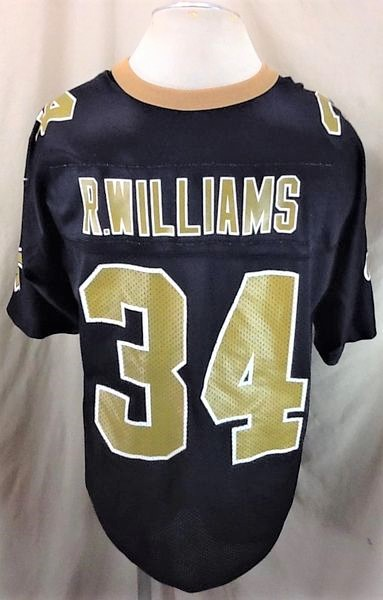 Vintage 1999 New Orleans Saints Ricky Williams #34 (XL) Retro NFL Football Black Jersey (Back)