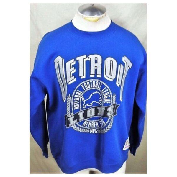 Vintage 90's Detroit Lions Football (XL) Retro NFL Graphic Crew Neck Sweatshirt (Main)