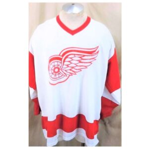 Vintage CCM Detroit Red Wings (XL) Retro NHL Hockey White Knit Jersey (Cover)