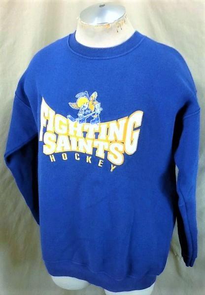 Minnesota Fighting Saints Hockey (Large) Retro Crew Neck Knit Sweatshirt (Side)