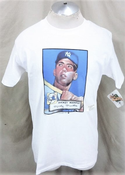New! 1989 New York Yankees Mickey Mantle #7 (Large) Topps Autograph MLB Graphic T-Shirt (Main)