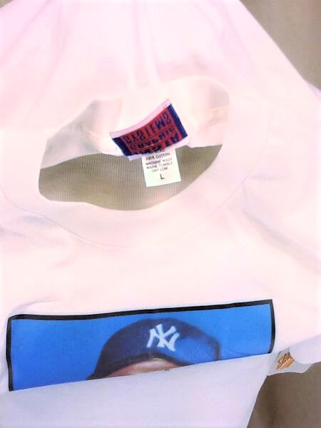 New! 1989 New York Yankees Mickey Mantle #7 (Large) Topps Autograph MLB Graphic T-Shirt (Tag)