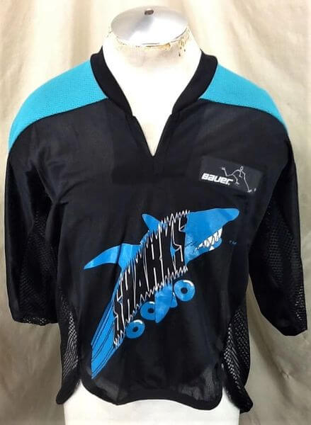 San Jose Sharks Roller Hockey (Large) Vintage NHL Bauer Off Ice Hockey Jersey (Front)