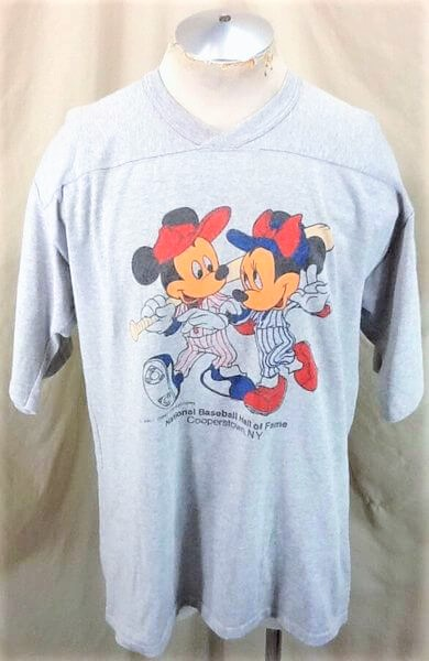 Vintage 1980's Mickey Mouse Baseball (XL-2XL) Cooperstown MLB Hall of Fame Knit Shirt (Front)