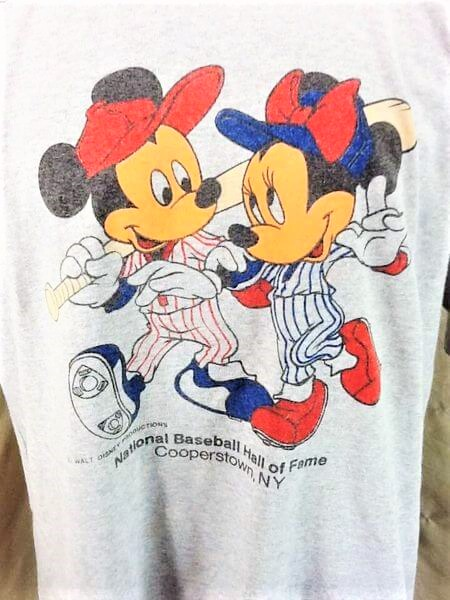 Vintage 1980's Mickey Mouse Baseball (XL-2XL) Cooperstown MLB Hall of Fame Knit Shirt (Graphic)