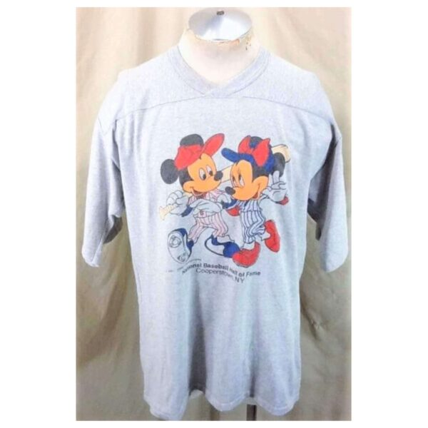 Vintage 1980's Mickey Mouse Baseball (XL-2XL) Cooperstown MLB Hall of Fame Knit Shirt (Main)