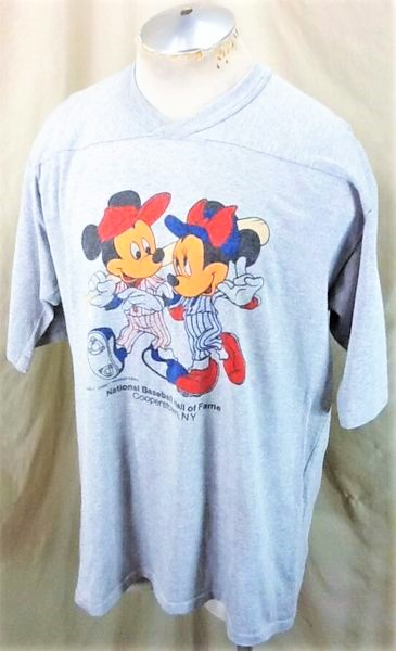 Vintage 1980's Mickey Mouse Baseball (XL-2XL) Cooperstown MLB Hall of Fame Knit Shirt (Side)