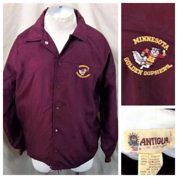 Vintage 1980's Minnesota Golden Gophers (Large) Retro College Snap Up Nylon Jacket (Main)