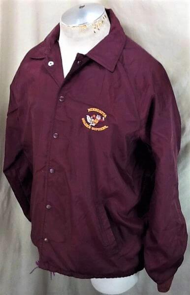 Vintage 1980's Minnesota Golden Gophers (Large) Retro College Snap Up Nylon Jacket (Side)