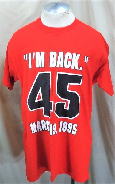 Vintage 1995 Michael Jordan I'm Back (XL) Retro Chicago Bulls Single Stitch T-Shirt (Front)
