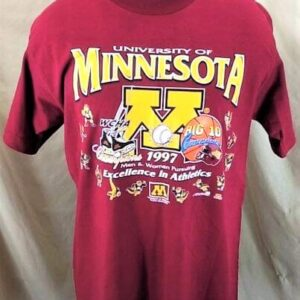 Vintage 1997 Minnesota Gophers (Large) Excellence In Athletics College T-Shirt (Front)