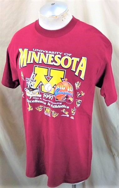 Vintage 1997 Minnesota Gophers (Large) Excellence In Athletics College T-Shirt (Side)