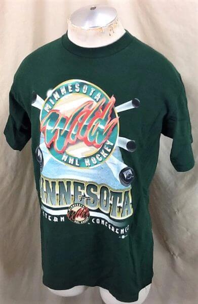 Vintage 2000's Minnesota Wild (Large) Retro Graphic NHL Hockey T-Shirt (Side)