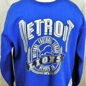 Vintage 90's Detroit Lions Football (XL) Retro NFL Graphic Crew Neck Sweatshirt (Front