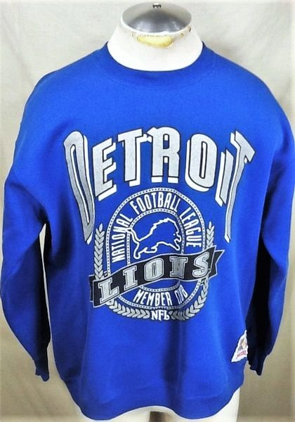 Vintage 90's Detroit Lions Football (XL) Retro NFL Graphic Crew Neck Sweatshirt (Front