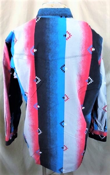 Vintage 90's Express Rider Apparel (XL-2XL) Button Up Western Wear Shirt (Back)