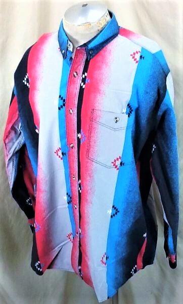 Vintage 90's Express Rider Apparel (XL-2XL) Button Up Western Wear Shirt (Side)