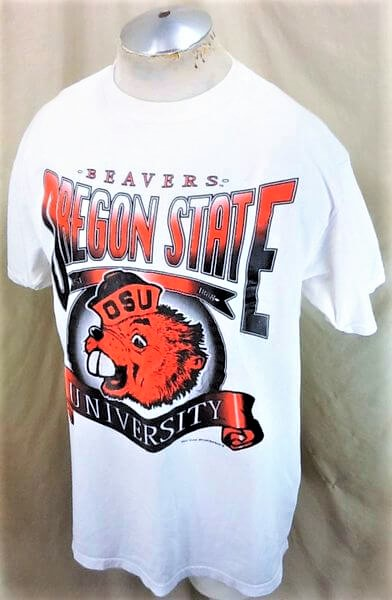 Vintage 90's Tultex Oregon State Beavers (XL) Retro College Apparel Graphic T-Shirt (Side)