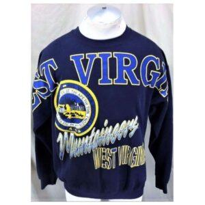 Vintage 90's West Virginia Mountaineers (L-XL) Retro Graphic College Sweatshirt (Main)