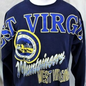 Vintage 90's West Virginia Mountaineers (L/XL) Retro Graphic College Sweatshirt (Front)