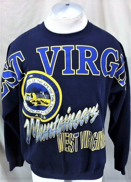 Vintage 90's West Virginia Mountaineers (L/XL) Retro Graphic College Sweatshirt (Front)