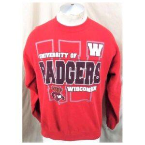 Vintage 90's Wisconsin Badgers (Med-Large) Retro Crew Neck College Sweatshirt (Main)