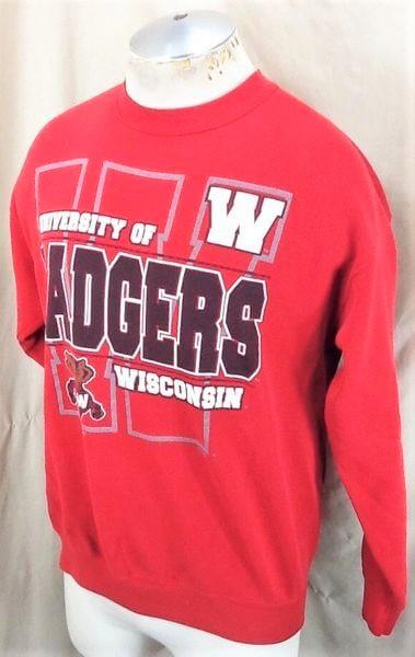 Vintage 90's Wisconsin Badgers (Med-Large) Retro Crew Neck College Sweatshirt (Side)