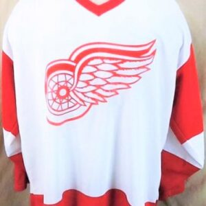 Vintage CCM Detroit Red Wings (XL) Retro NHL Hockey White Knit Jersey (Main)