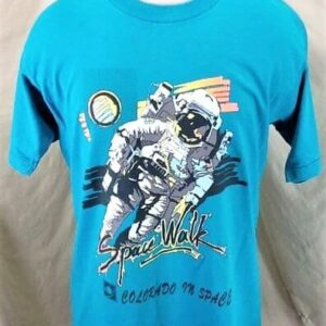 Vintage CU Boulder Space Walk (Large) Colorado In Space Single Stitch T-Shirt (Front)