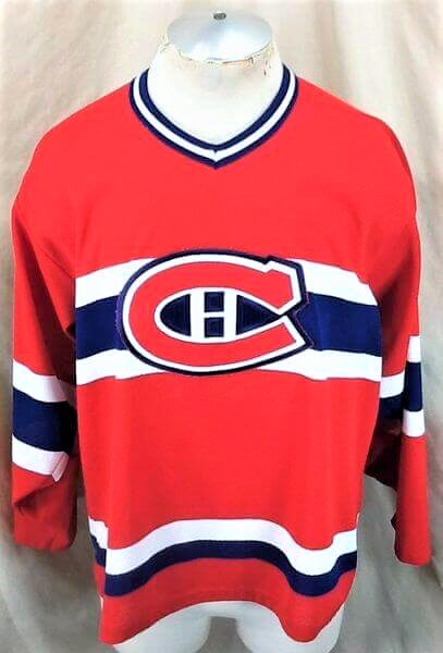 Vintage Montreal Canadiens Hockey (Med) Retro NHL Apparel Knit Jersey (Front)