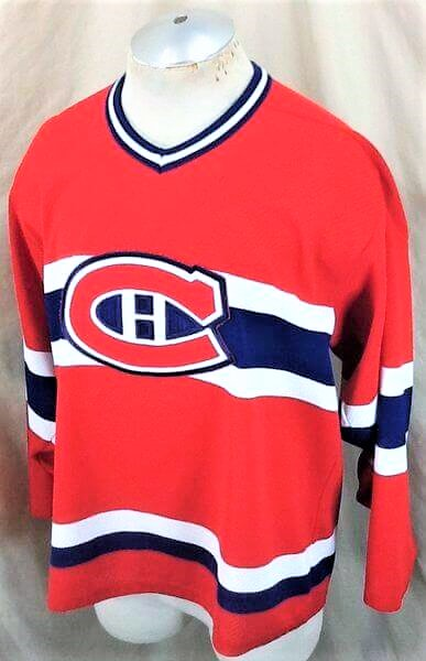 Vintage Montreal Canadiens Hockey (Med) Retro NHL Apparel Knit Jersey (Side)