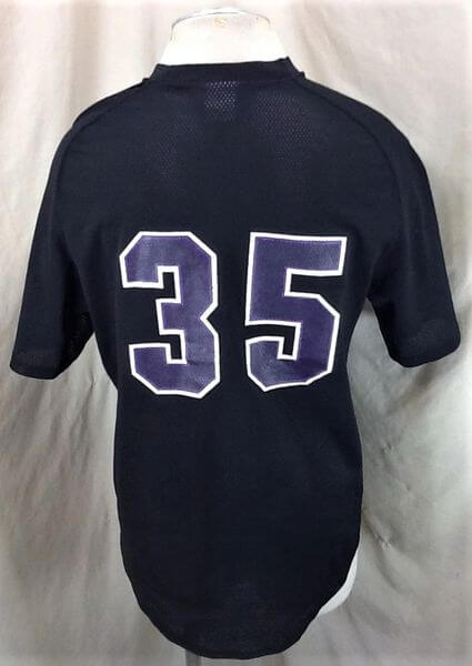 Vintage University of St. Thomas Baseball #35 (Large) Retro NCAA Pullover Black Jersey (Back)