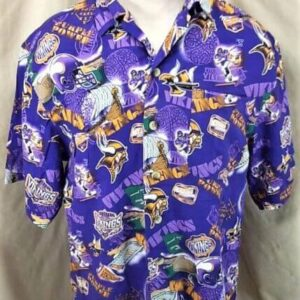Minnesota Vikings Football Club (Med) All Over Graphic NFL Hawaiian Shirt (Front)