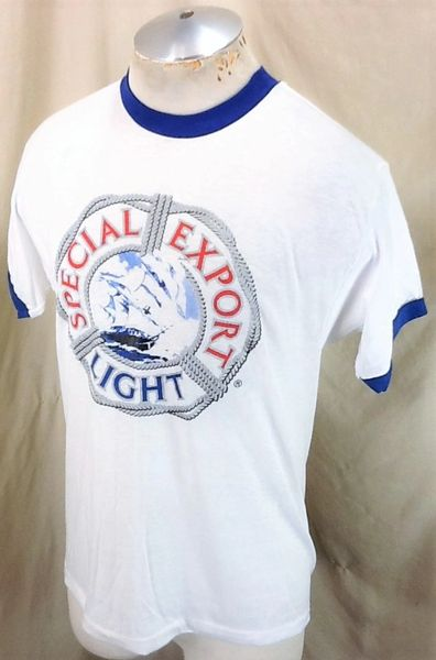 Vintage 1980's Sneakers Special Export Light (Med-Large) Ultra Thin Retro Beer T-Shirt (Side)
