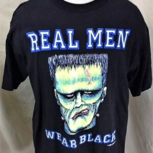 Vintage 1992 Frankenstein Real Men Wear Black (Large) Graphic Halloween T-Shirt (Front)